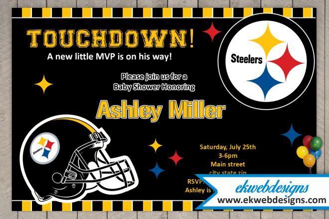 Custom Pittsburgh Steelers Baby Shower Invitations Football Baby