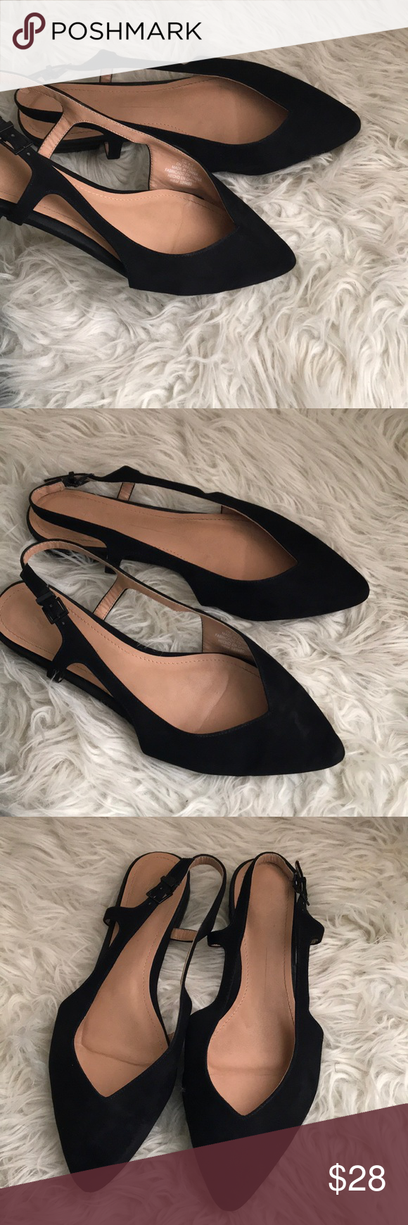H M Sling Back Flats Shoes Pointed Toe Sz 8 5 Pointed Toe Shoes Pointed Flats Shoes Shoes