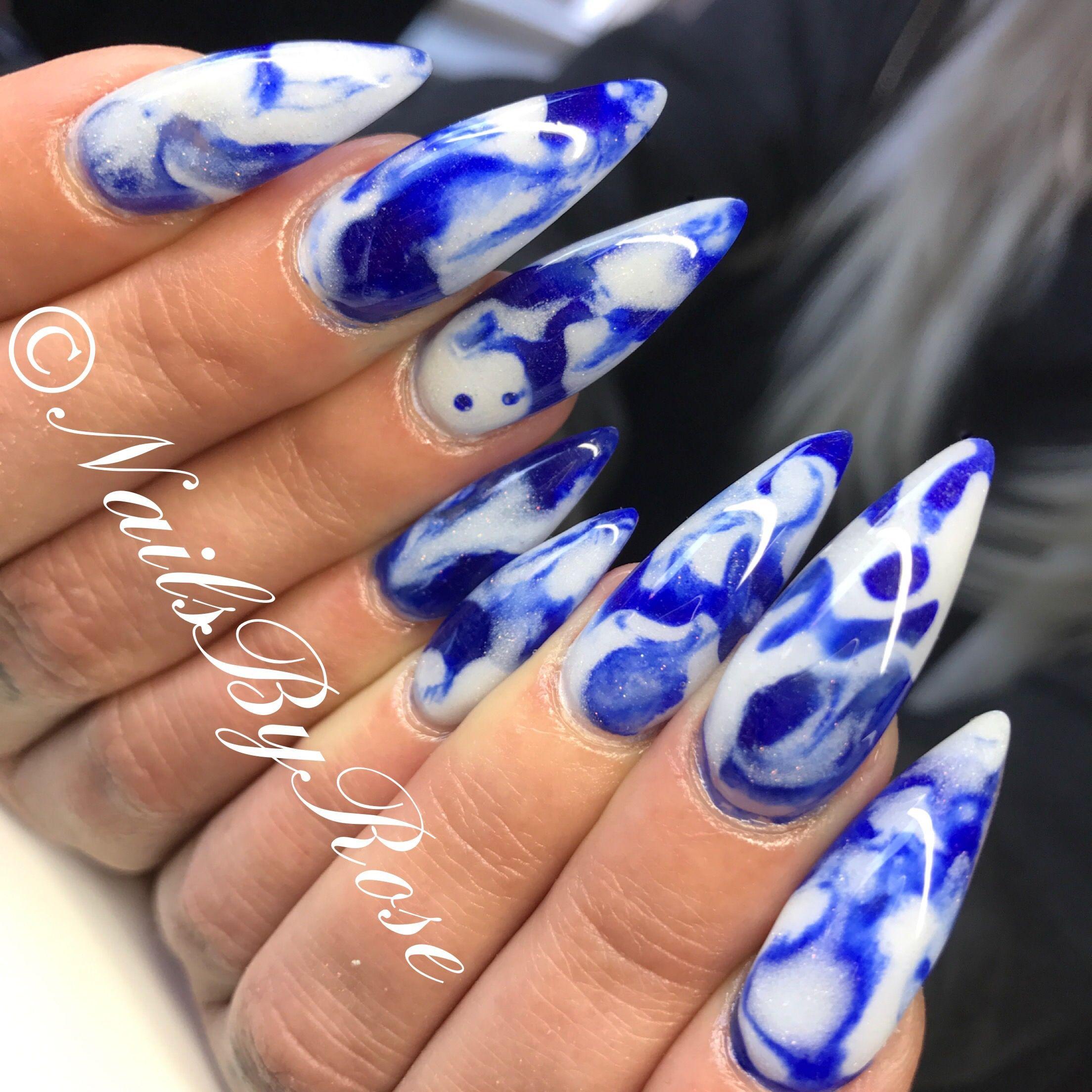 Acrylic marble blue \u0026 white. Nails long nails