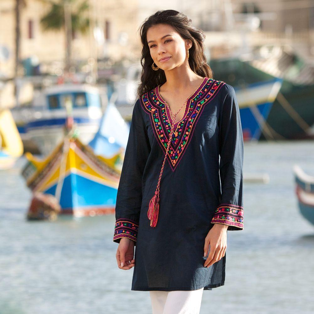Pia Pauro Hand-embroidered Tunic | Tunics, Classy and Designers