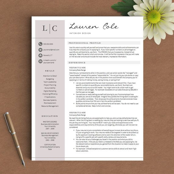Modern Resume Layout Creative Resume Template For Word & Pages  1 2 And 3 Page Resume .