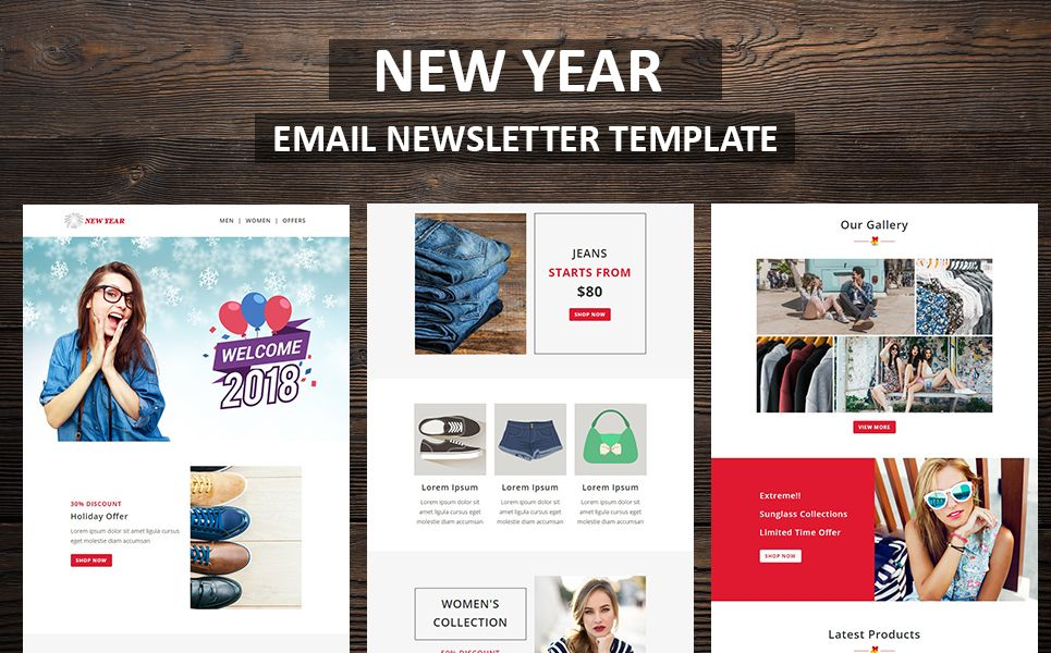New Year Email Newsletter Template 66336 Templatemonster Email Newsletter Template Newsletter Templates Responsive Email Template