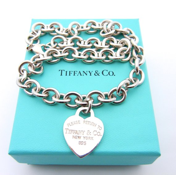 436d960ac760d Authentic Tiffany and Co Heart Tag Necklace Lobster Clasp - Sterling ...