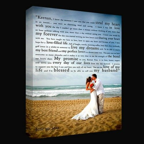 Amazing Idea - awesome wedding picture as canvas to display the promises of your personal vows!