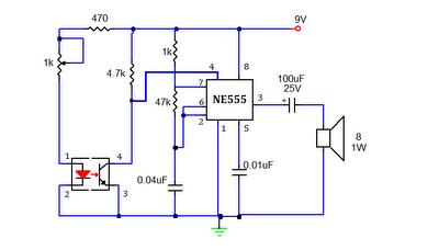 smoke detector or sensor circuit using 555 timer ic with
