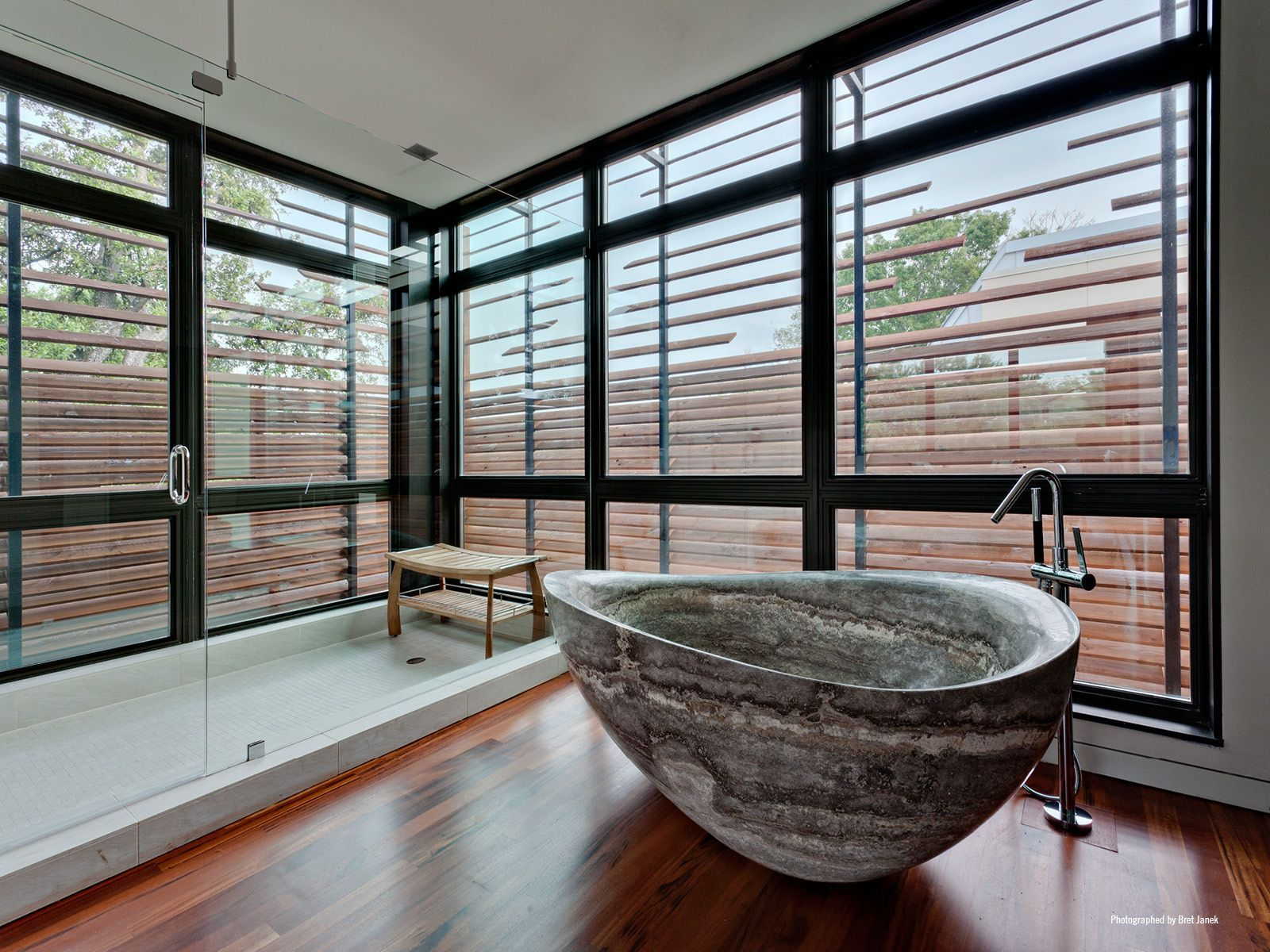 Stone Bathtub In Modern Bathroom At Caruth Boulevard House In Dallas By Tom  Reisenbichler