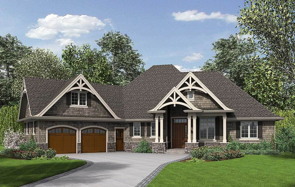 3 Bedroom Craftsman Home Plan 69533AM