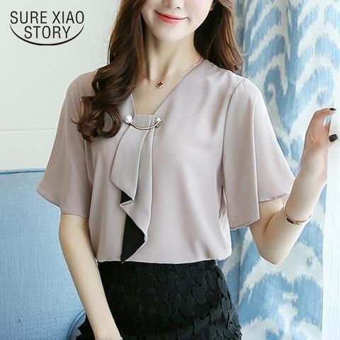 2018 new spring fashion chiffon short sleeved blouses plus size casual  women tops simple women clothing chiffon blouses D560 30 25c32db892b7