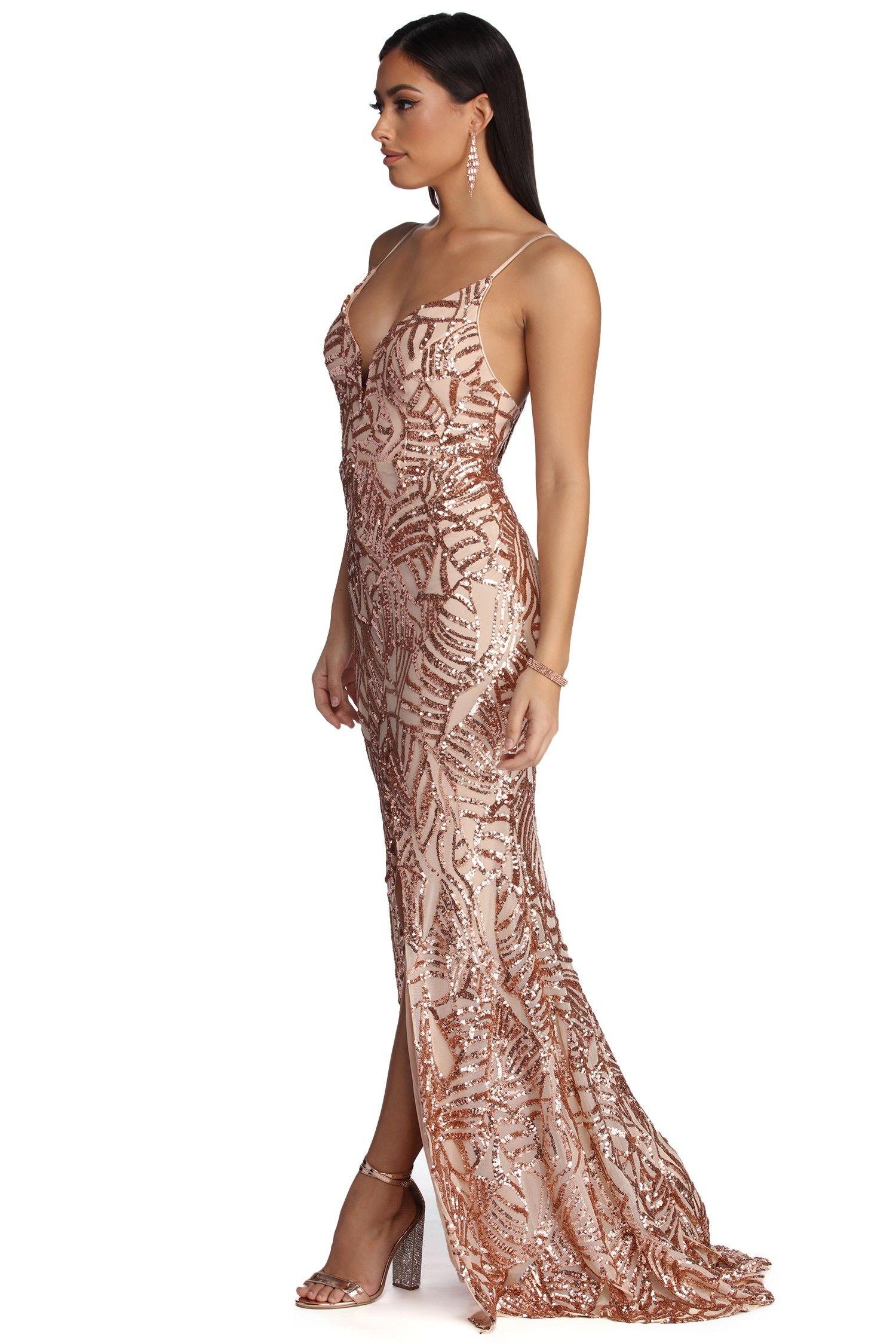 Charice Flared Geometric Sequin Dress Windsor Dresses Prom Dresses Gold Beaded Dress [ 2247 x 1500 Pixel ]