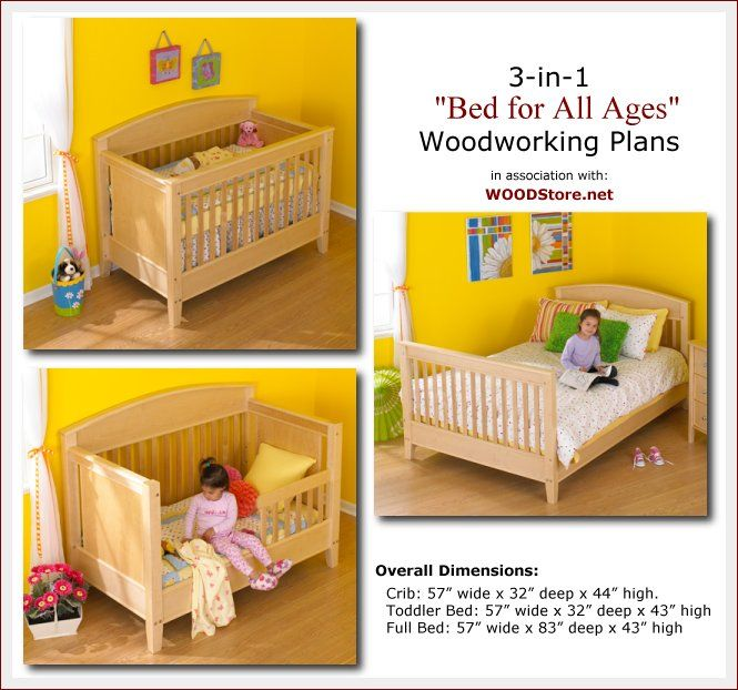 Rockler 3 In 1 Crib Cribs Toddler Bed Full Bed