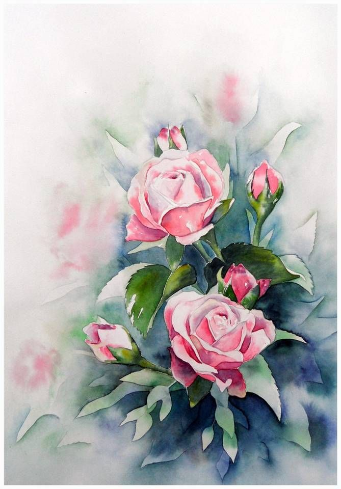 Aquarell Rosen In Negativtechnik Blumen Malen Rose Malen