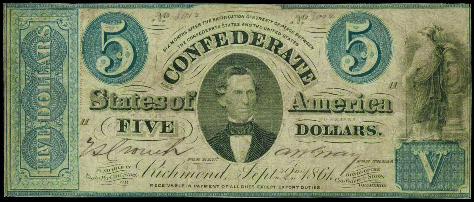 Confederate Currency 5 Dollar Treasury Bill September 2