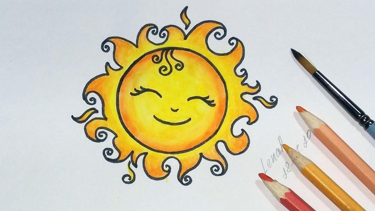Солнце картинки нарисованные карандашом