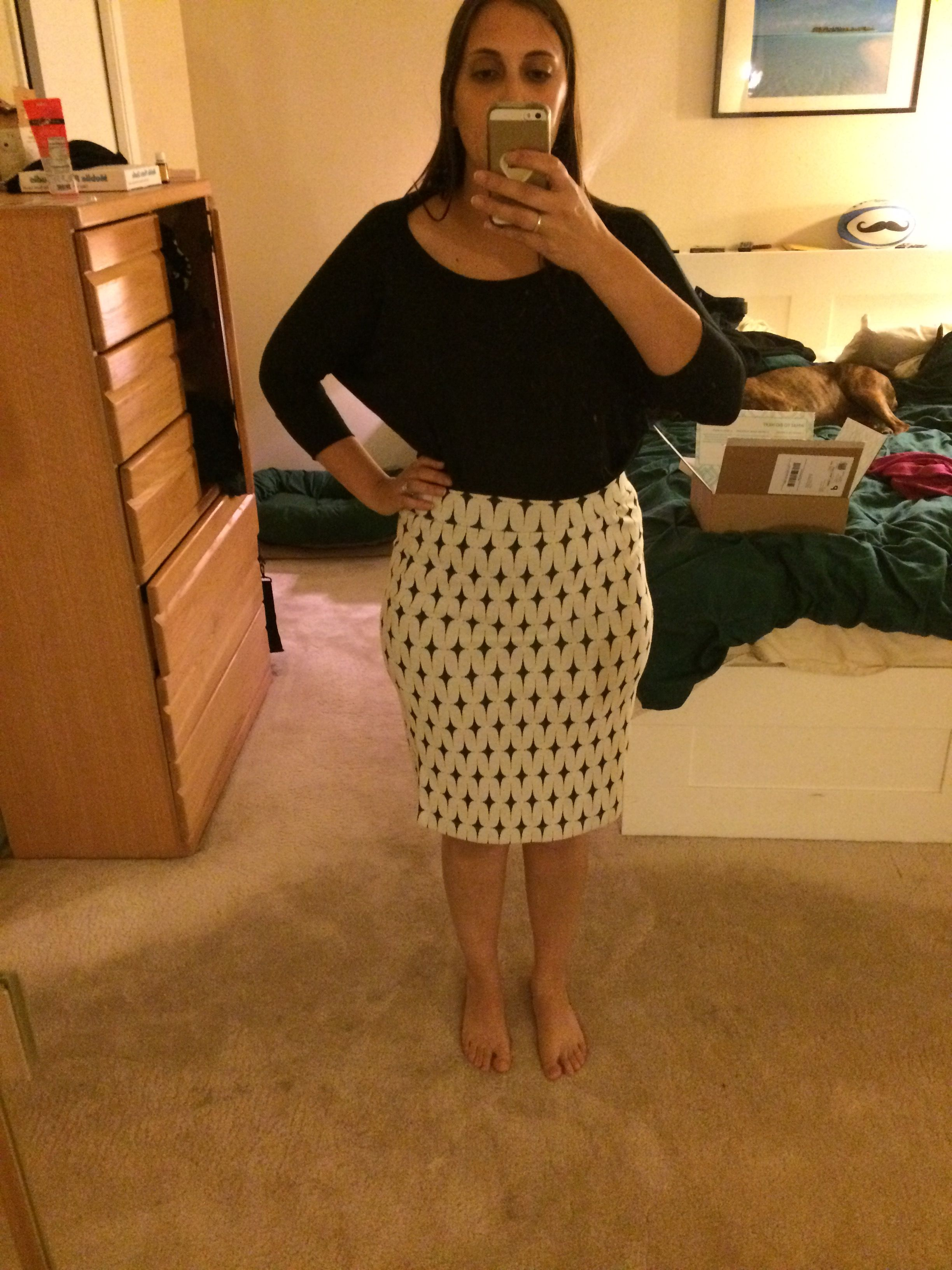238df2ad22 Stitch Fix #18: Didn't keep. I liked the pattern and material when I took  it from the box, but the fit just made me feel frumpy and lumpy.