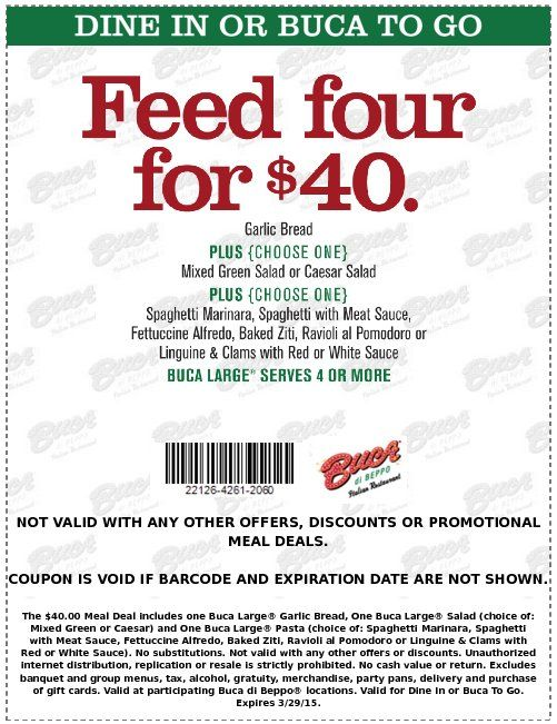 photograph about Buca Di Beppo Printable Coupons known as Keep track of out promotions towards Buca di Beppo having GeoQpons application upon