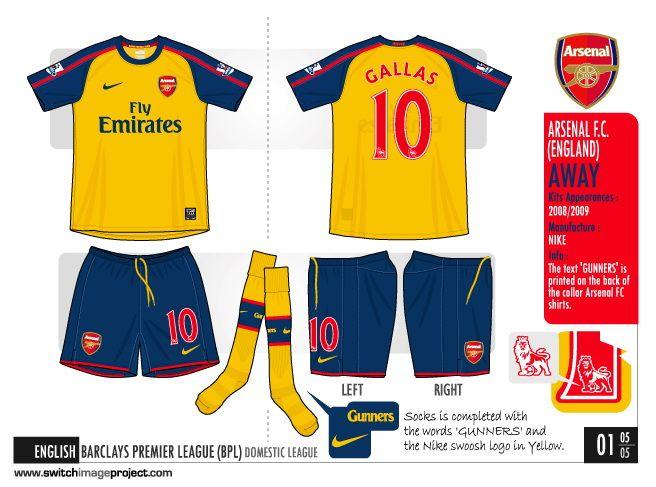 brand new a1671 62ab3 Arsenal Kit 2008-2009 Away 3 | Arsenal Kits History ...