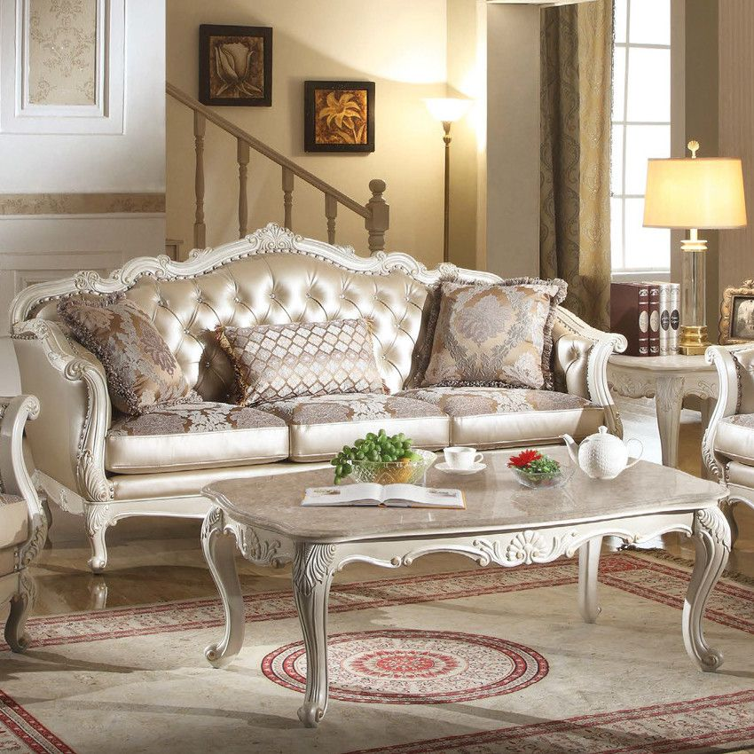 Chantelle Sofa In Rose Gold Leatherette, Fabric & Pearl