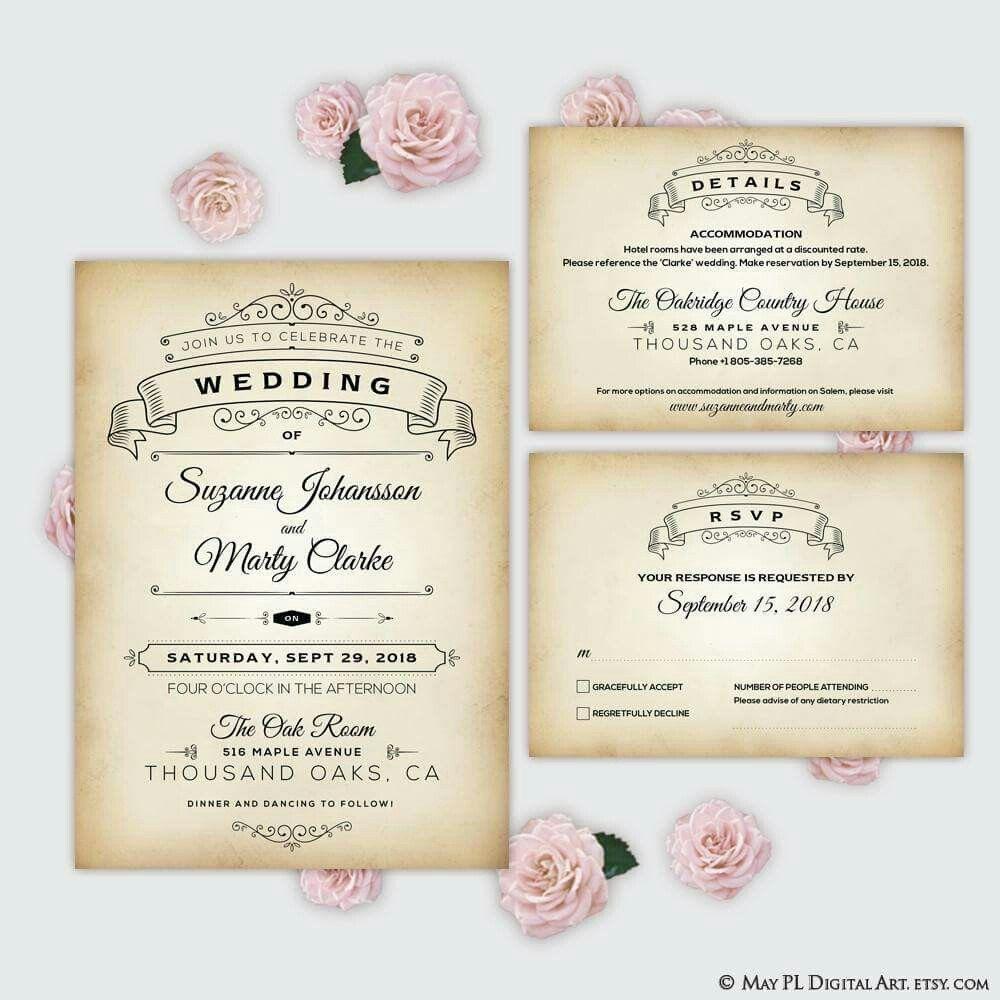 Rustic Wedding Invitation Template Digital Invites Vintage Wedding - Wedding invitation templates: hotel accommodations template for wedding invitations