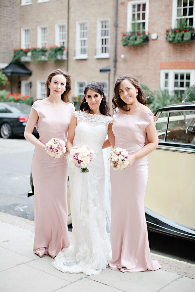 A sophisticated modern wedding at claridges in london with for Dusky pink wedding dress