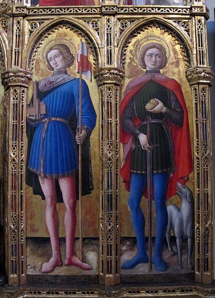 Antonio Vivarini - Santi Venanzio e Rocco, dettaglio Polittico di San'Antonio abate - 1464 - Pinacoteca vaticana