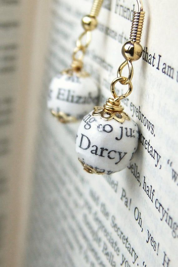Pride and Prejudice, book page bead earrings #prideandprejudice