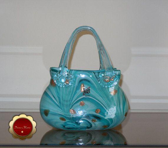 Glass Art Handmade Glass Handbag Glass Purse Sculpture Etsy Handbag Purses Glass Art