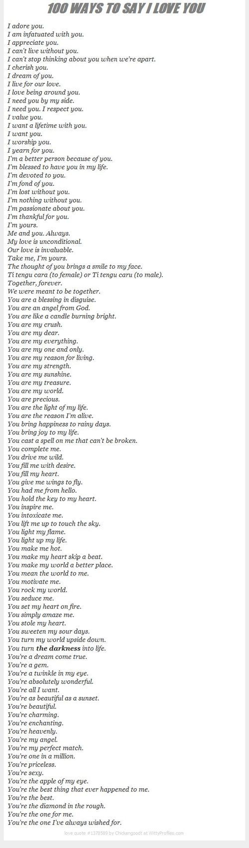 100 Ways to say I love you for my love, J | Love Quotes