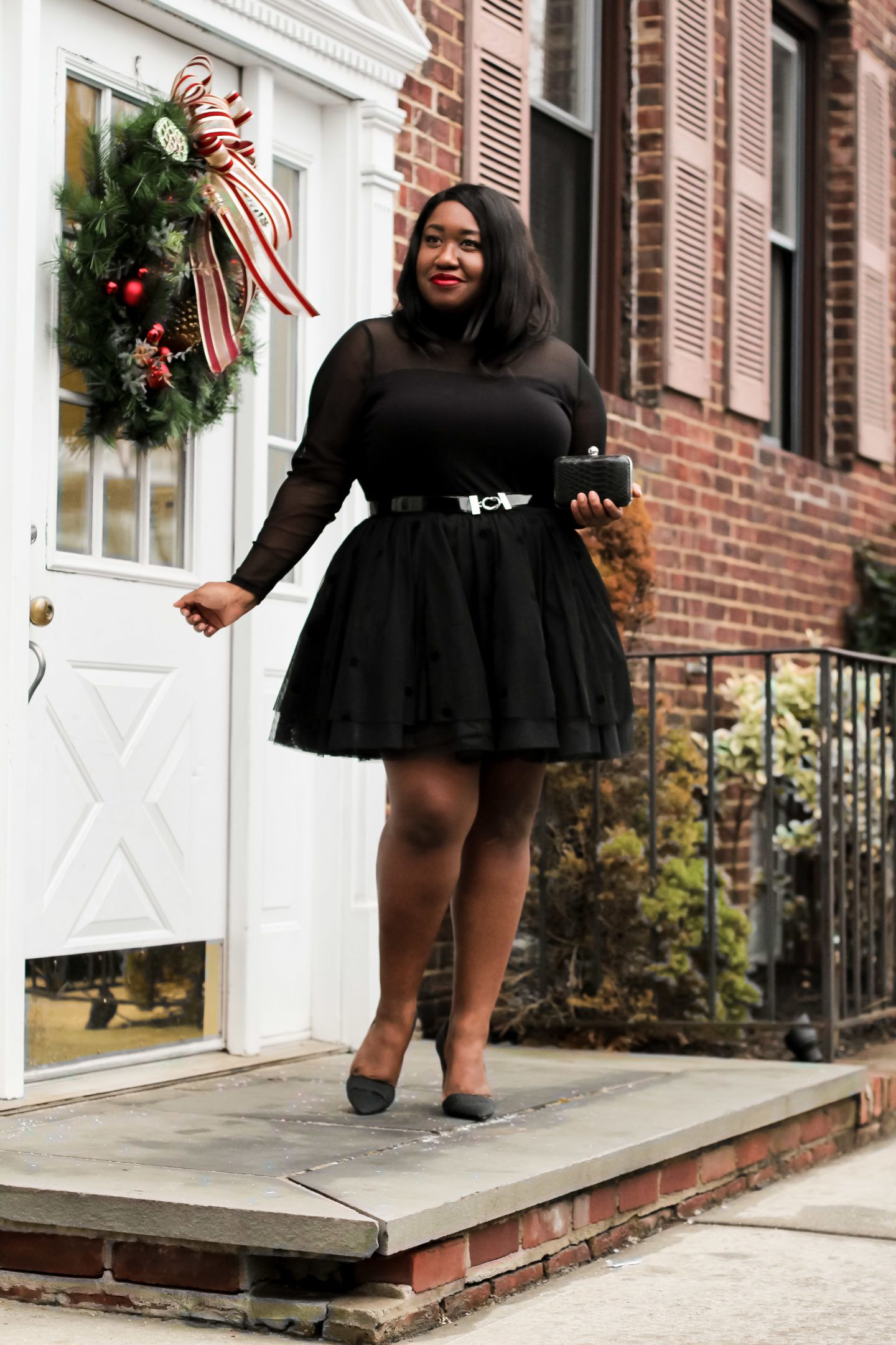 4d01600c2d Plus Size Fashion • Plus Size Tulle Skirt Holiday Outfit • Tulles of the  Trade • Shapely Chic Sheri