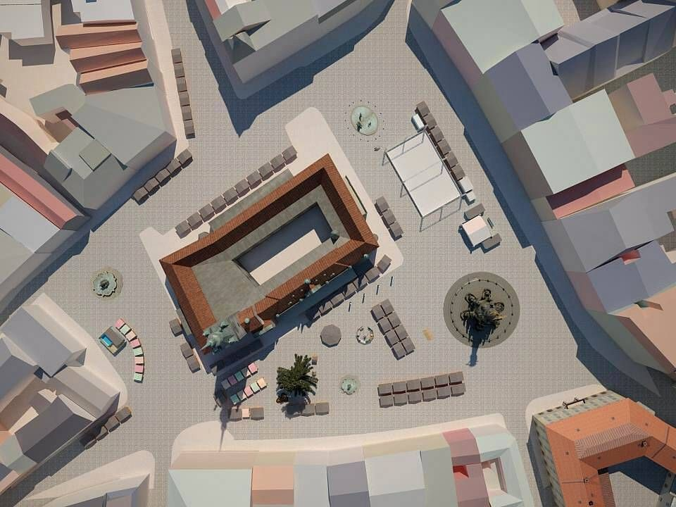 Vizualizace rozmístění stánků na olomouckých Vánočních trzích 2012