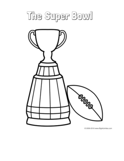 Super Bowl coloring page with a trophy and a football to