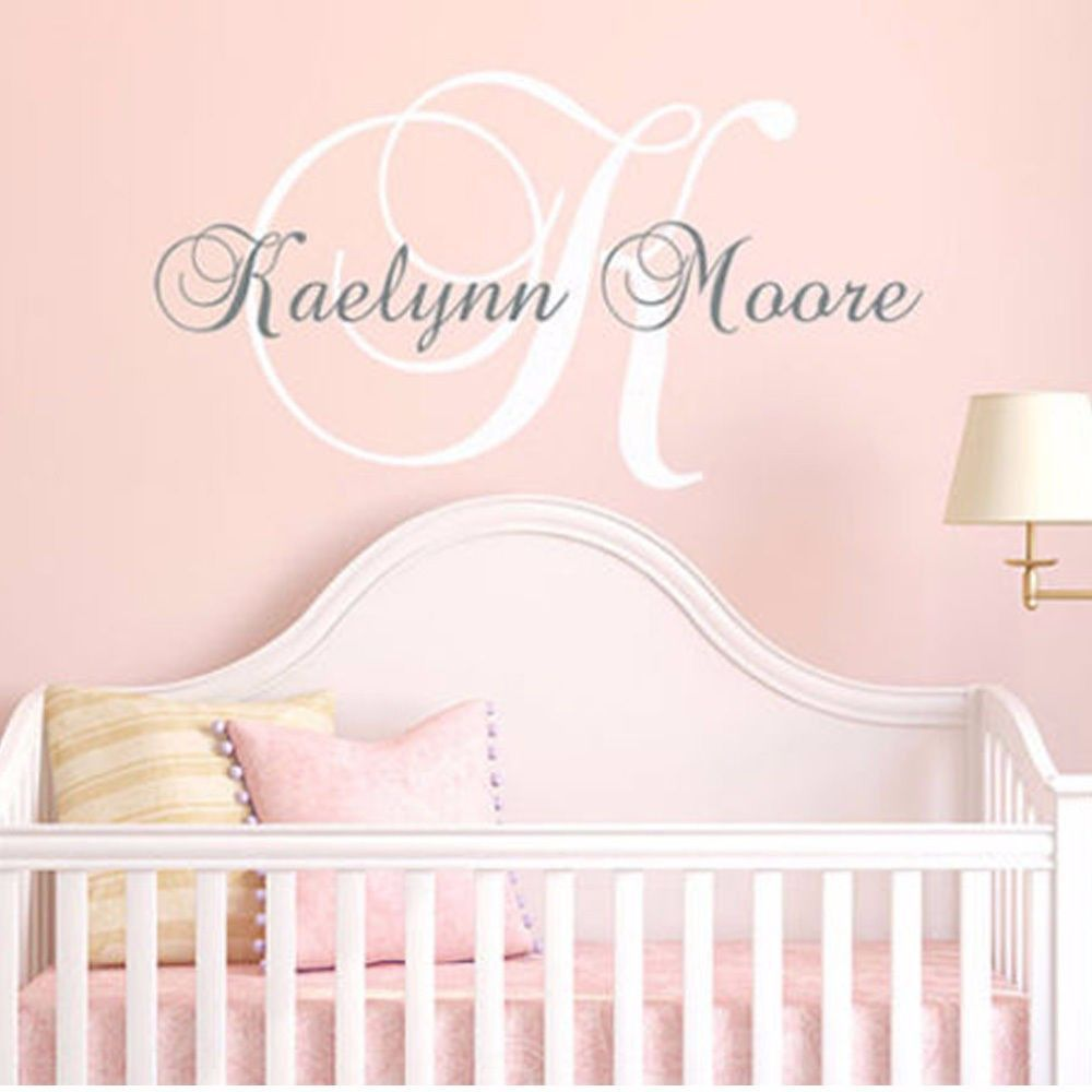 Perfect Monogramed Name Custom Personalized Initial Letter Wall Decal Stickers For  Baby 23inX23in