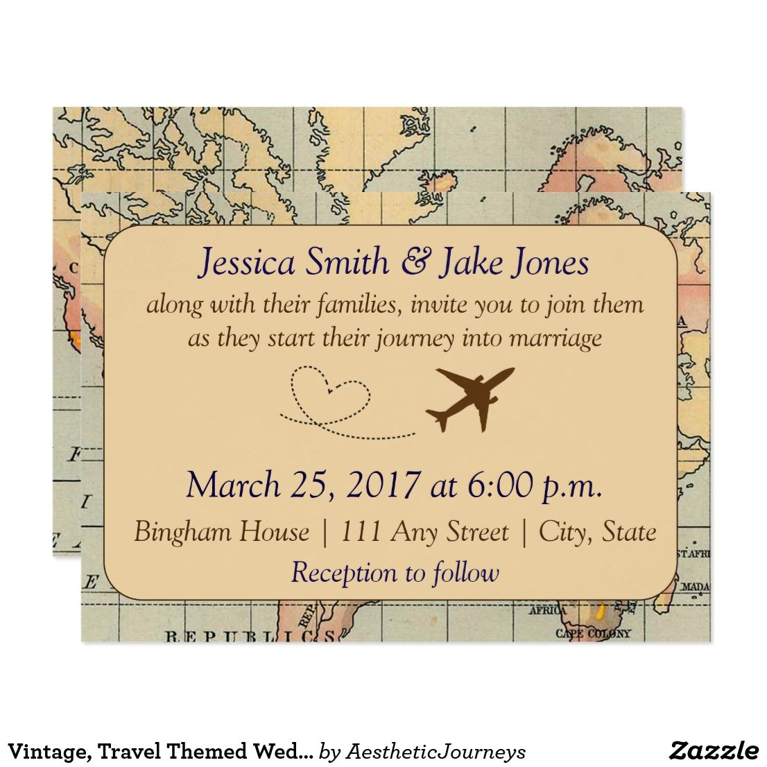 Vintage, Travel Themed Wedding Invite This beautiful travel themed ...