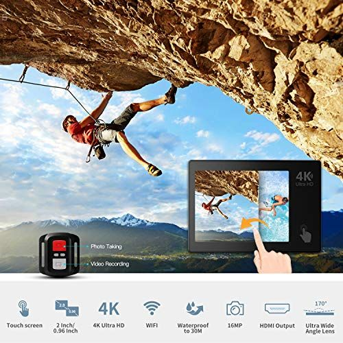 Action Camera, ABOX 4K 16MP WiFi Sport Cam 30M Waterproof Camcorder with EIS Touch Screen/Dual Screen Display, 170°Wide-Angle Len,2.4G RF Remote, 2Pcs 1050mAh Batteries and Mounting Accessories Kits #touchscreendisplay