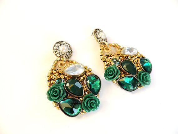 Unique earrings big earrings bridal earrings by JewelryLanChe #luxury #bridesmaid #earrings