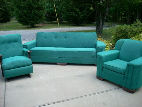 Vintage Mid Century Harmony House Turquoise Aqua Teal Sofa Bed Rocker Club Chair Ebay