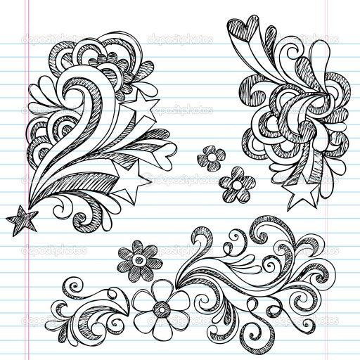 Stars and flowers bursting with swirls, doodles.