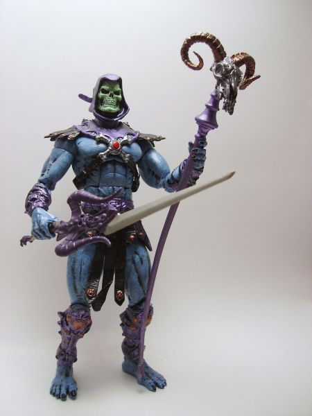 Skeletor (Marvel Legends) Custom Action Figure by GOLIATH_CUSTOMS Base figure: Wraal with Ghost Rider head, Hobgoblin hood, 2002 Skeletor armor, lower arms and lower legs