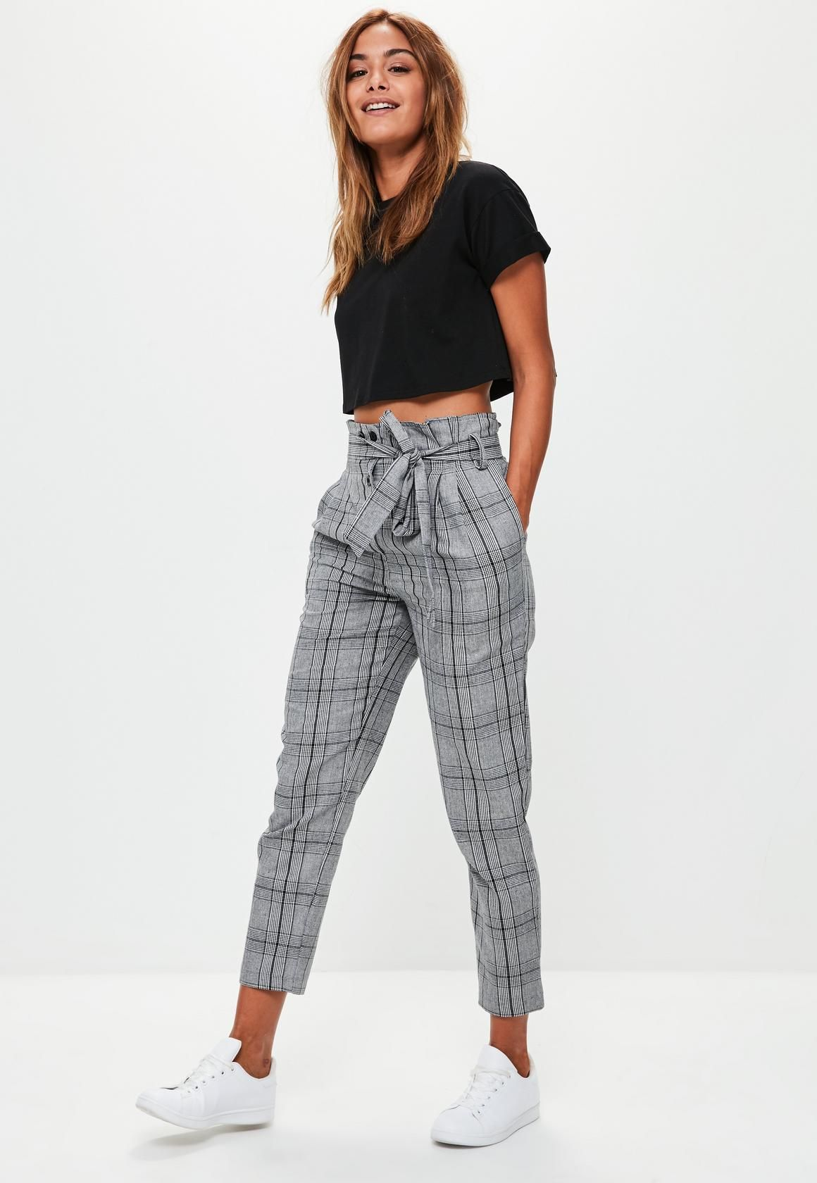 Missguided Black Double Button Plaid Pants in 2019