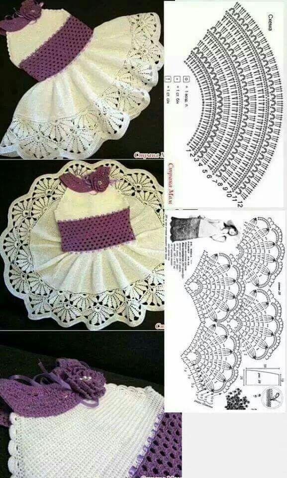 Vestido croche | Одежда для детей | Pinterest | Tejido, Ganchillo y ...
