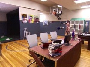 A Man Cave Office To Dream About Complete With A Basketball Court