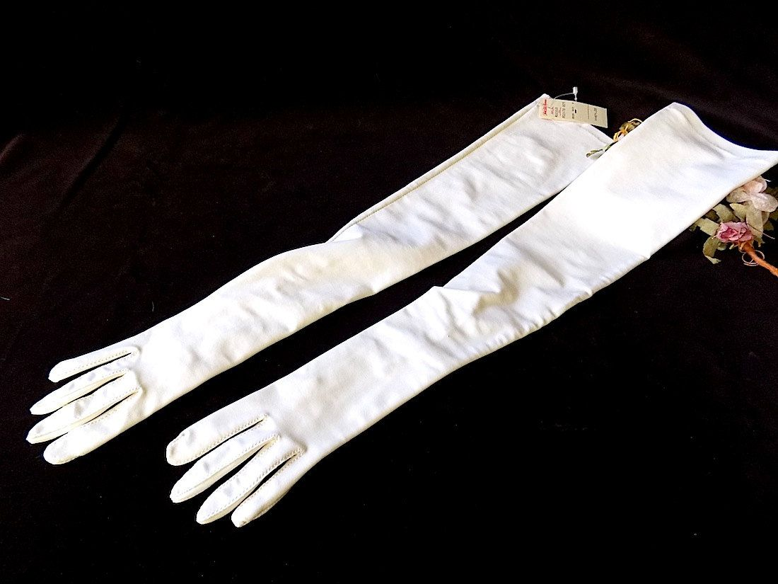 VIntage Bridal White Opera Length Gloves with Pearls from Isotoner Saks Fifth Ave Tag by EyeSpyGoods on Etsy