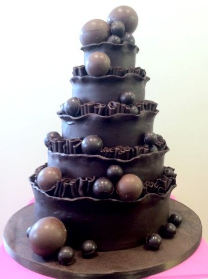 Cake Decorating Balls Beauteous Wedding Cake With Chocolate Balls And Frill Decoration  Fantasy Design Inspiration