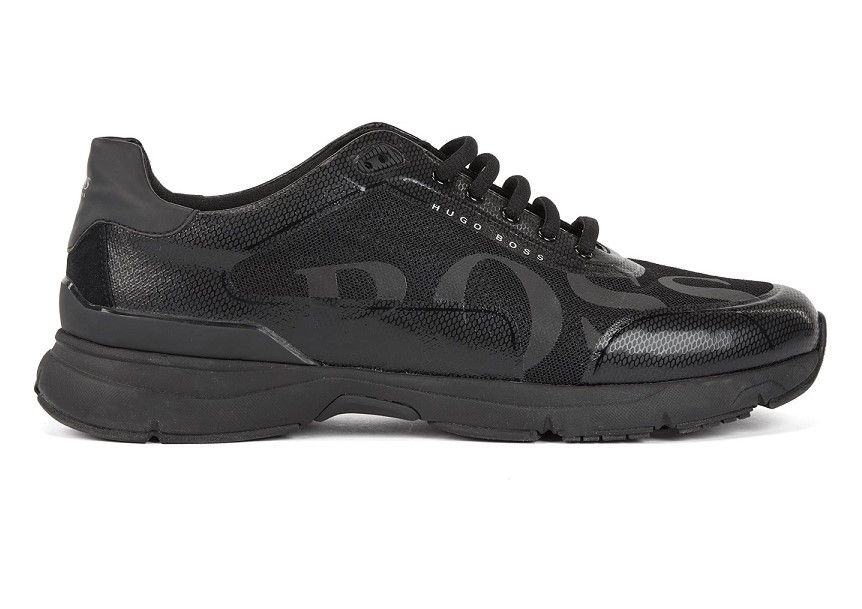 new arrival 76a70 ebca1 BOSS Velocity Runn logo2 Baskets style chaussures de course pas cher avec  doublure en charbon de