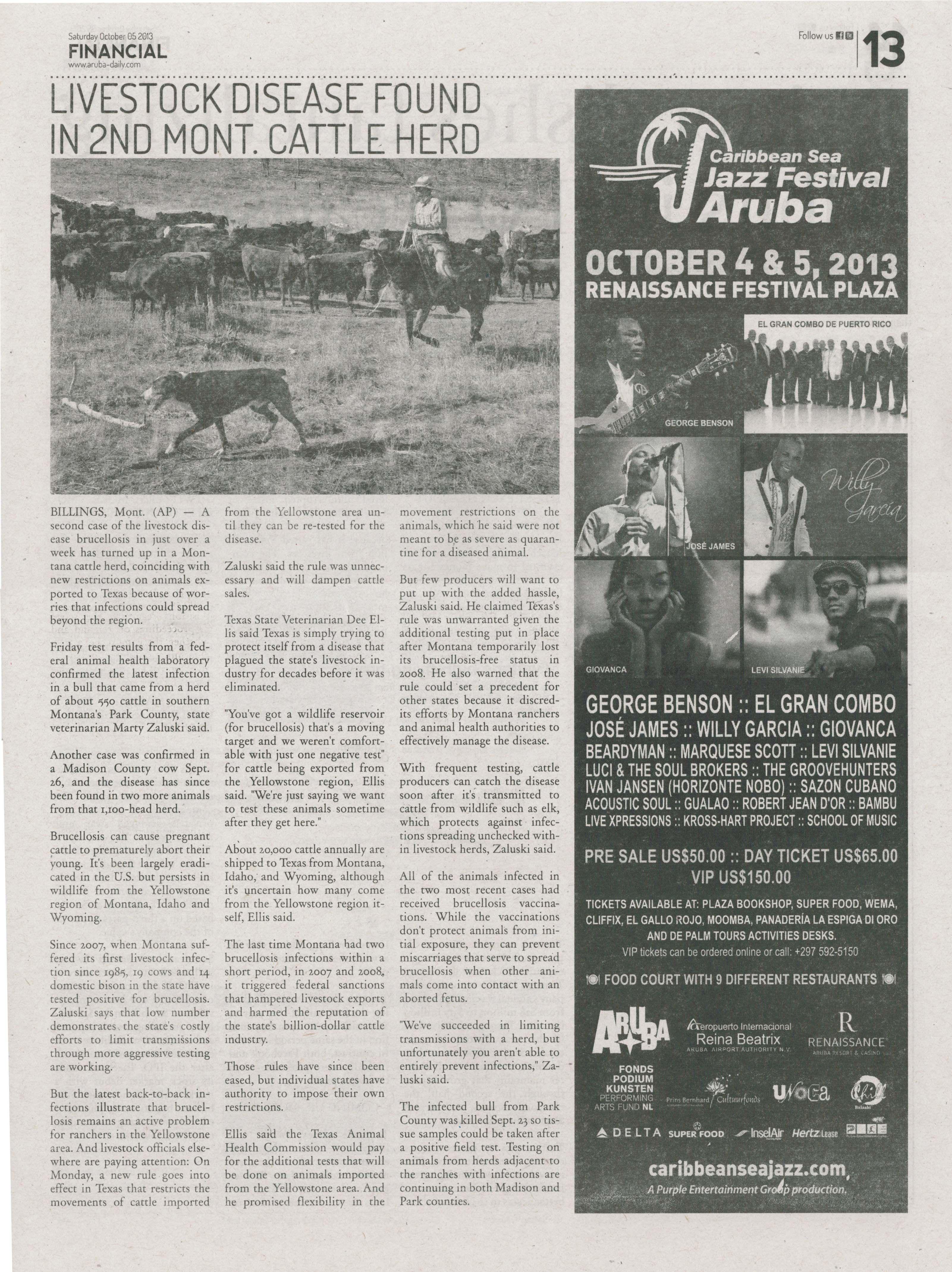 Promoción del festival periódico 'Financial' de Aruba - 5 de octubre (segundo día del festival).