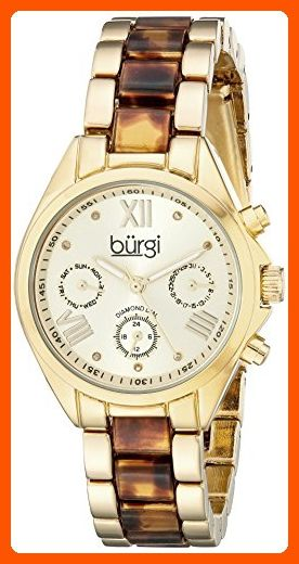 Burgi Women's BUR130YG Diamond Accented Yellow Gold & Tortoise Resin Multifunction Bracelet Watch - All about women (*Amazon Partner-Link)