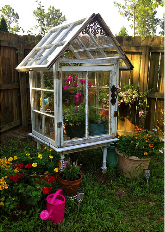 Old Windows Can Make A Cute Inexpensive Greenhouse That Will Brighten Any Yard Or Patio