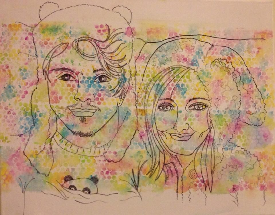 Line Drawing Of Child S Face : Watercolour sharpie pen line drawing portrait