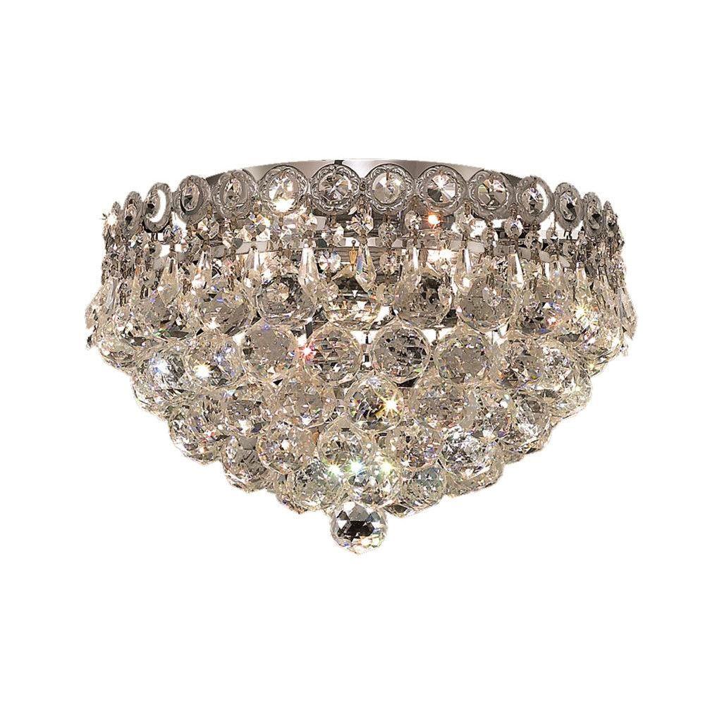 "Elegant Lighting 1901F14C/EC Century Collection Flush Mount Light Fixture D14"" x H10"" Chrome Finish (Elegant Cut Crystals)"