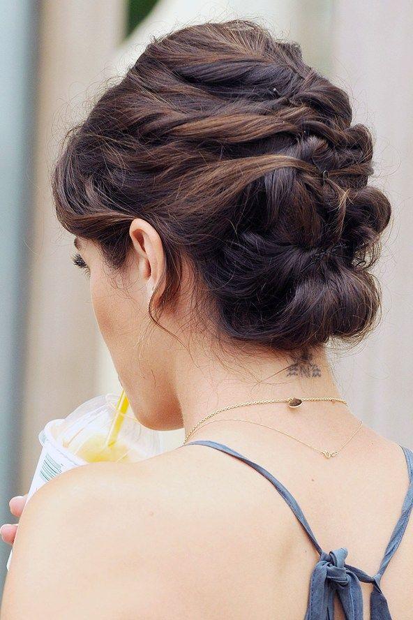 brunette updo thin hair wedding
