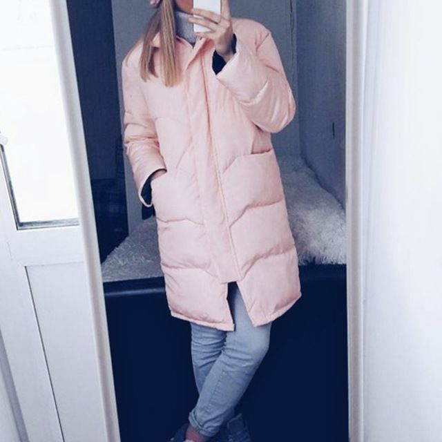 Nellbang Solid winter coat Thick long jacket wide waisted loose women Parkas cotton warm casual winter down jacket for women